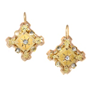 Vintage Victorian gold earrings with white strass stones