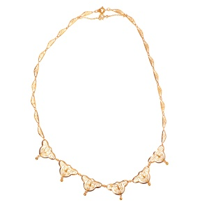 Vintage antique Victorian gold filigree necklace