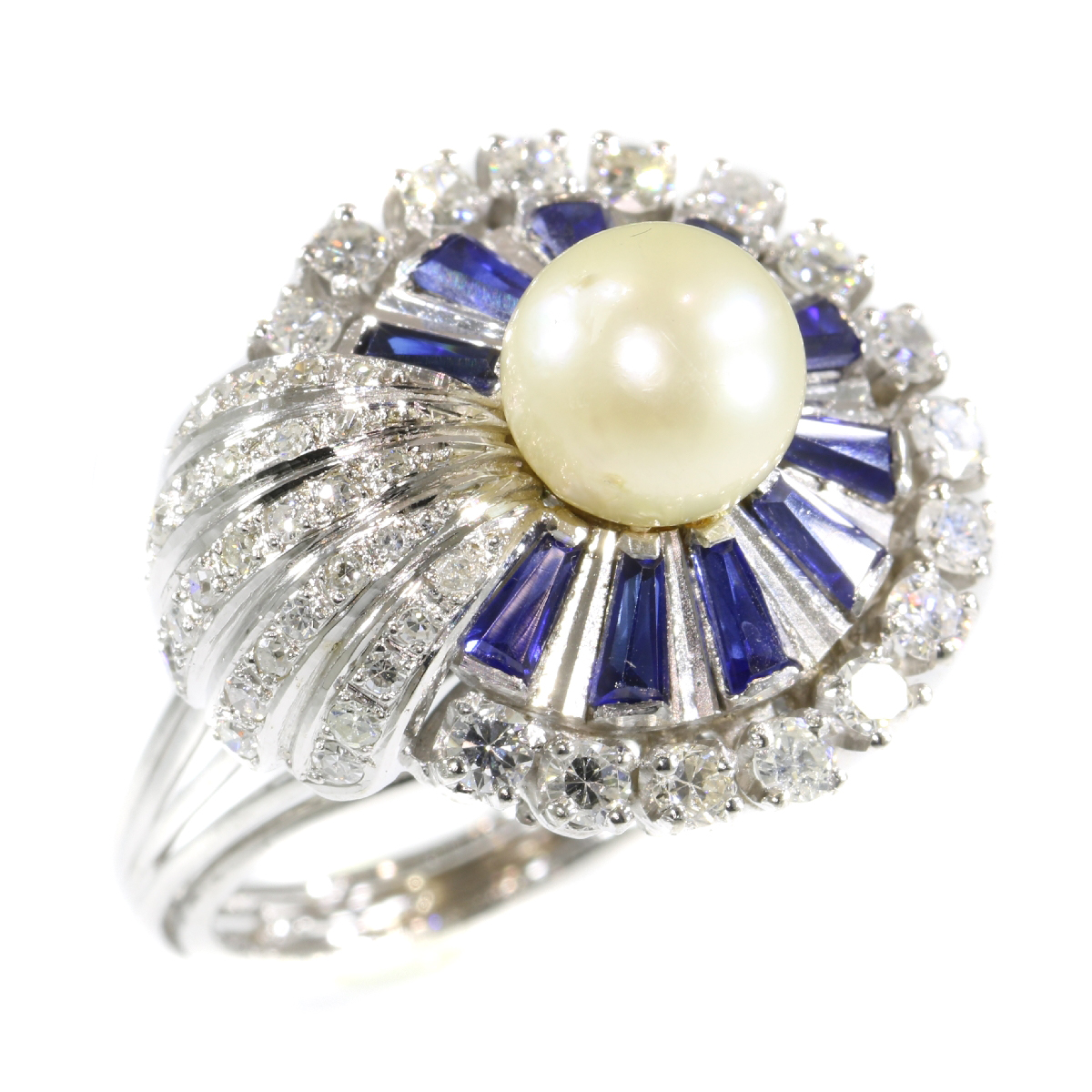 Vintage platinum diamond sapphire and pearl cocktail ring