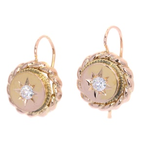 Victorian gold earrings with white stones