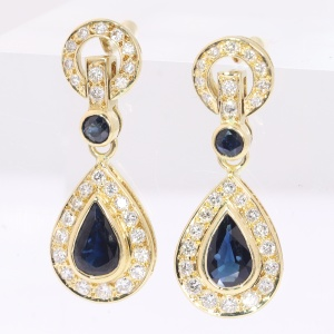 Vintage diamond and sapphire diamond long pendent earrings