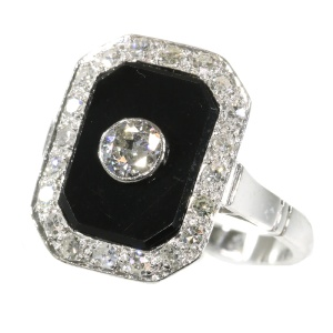 Vintage platinum Art Deco style diamond and onyx ring from the Fifties
