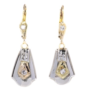 Vintage yellow and white gold earrings set with small diamonds