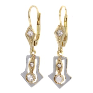 Vintage gold Art Deco earrings with white strass