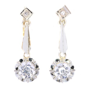 Vintage gold earrings set with white sapphires