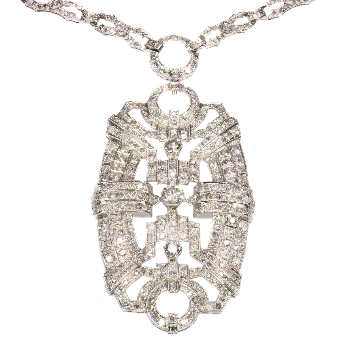 Art Deco platinum pendant necklace with 20+ crt diamonds necklace can be worn as 3 bracelets