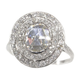 Art Deco platinum diamond engagement ring with large rose cut diamond