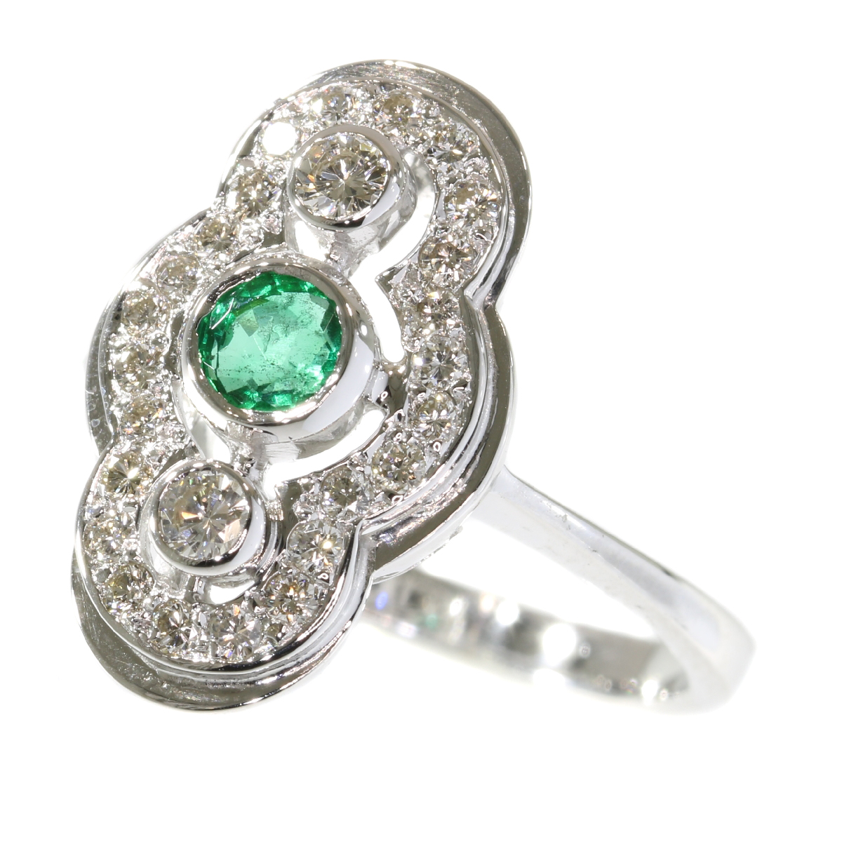 Vintage Art Deco style diamond and emerald ring made in the Seventies