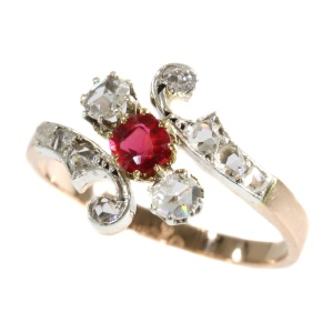 Real antique Victorian rose cut diamond ring with red strass