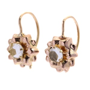 Vintage Antique Victorian pink gold earrings with strass