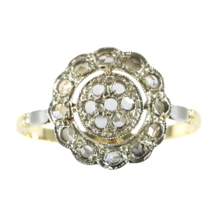 Vintage 2-tone gold French Art Deco ring with strass stones as diamond imitation