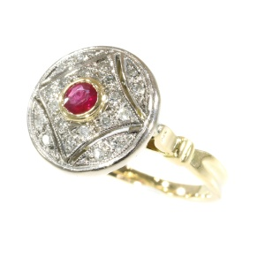 Vintage Art Deco ring with ruby and diamonds made in the Fifties