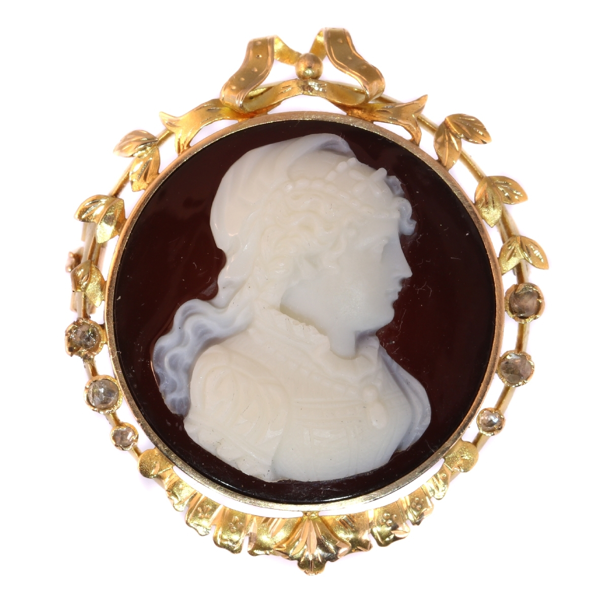 9ac20c53a Elegant Victorian antique stone cameo brooch with rose cut diamonds:  Description by Adin Antique Jewelry.