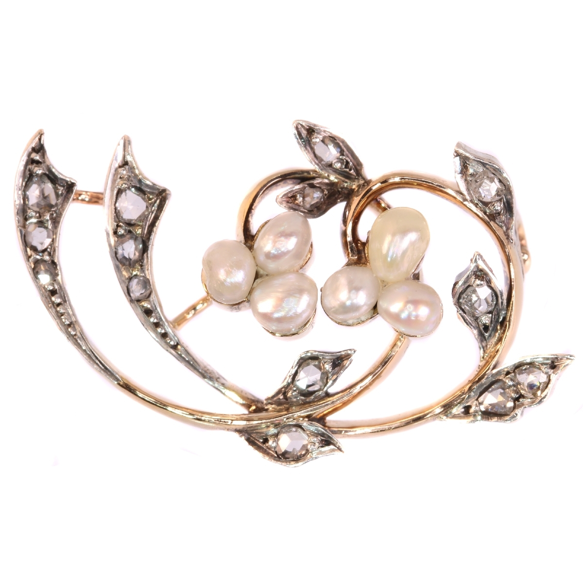 5e2fa9d90 Charming Antique Victorian branch brooch with pearls and diamonds:  Description by Adin Antique Jewelry.