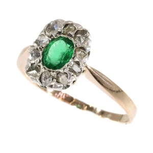 Antique Victorian ring with rose cut diamonds and green strass
