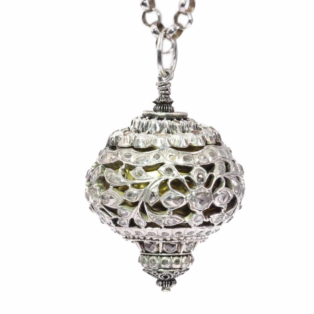 Antique 16th century diamond embellished pomander sphere