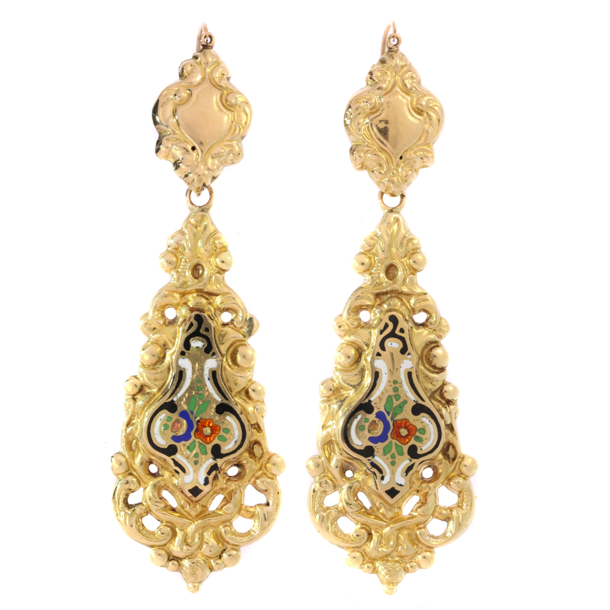 a58707843 Antique Victorian gold dangle earrings with enamel: Description by Adin  Antique Jewelry.