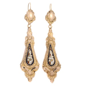 Antique gold dangle earrings with enamel Victorian era