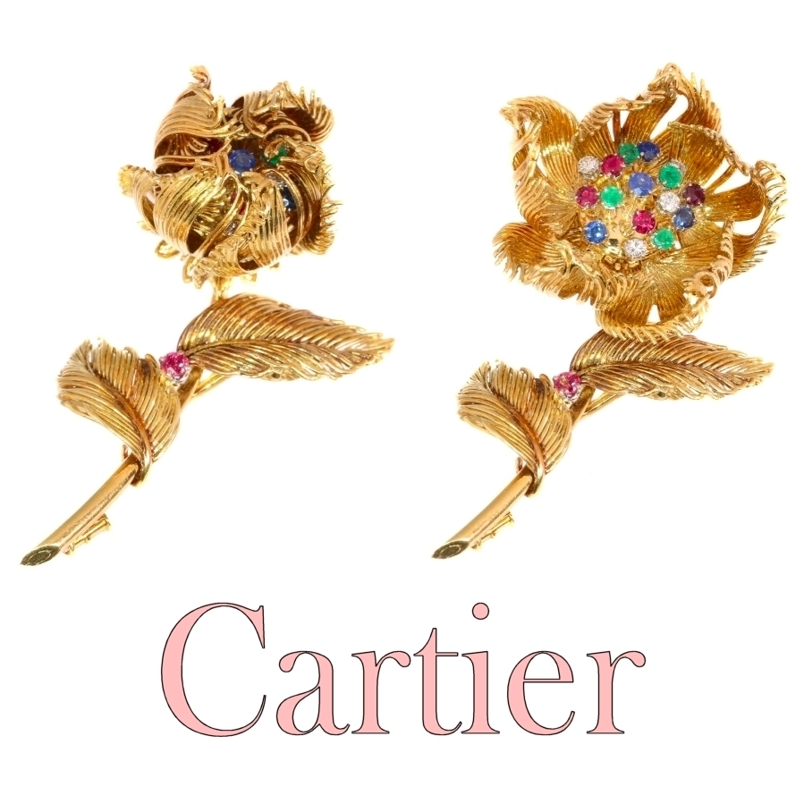 Cartier Vintage Fifties trembleuse brooch moveable flower that opens/closes