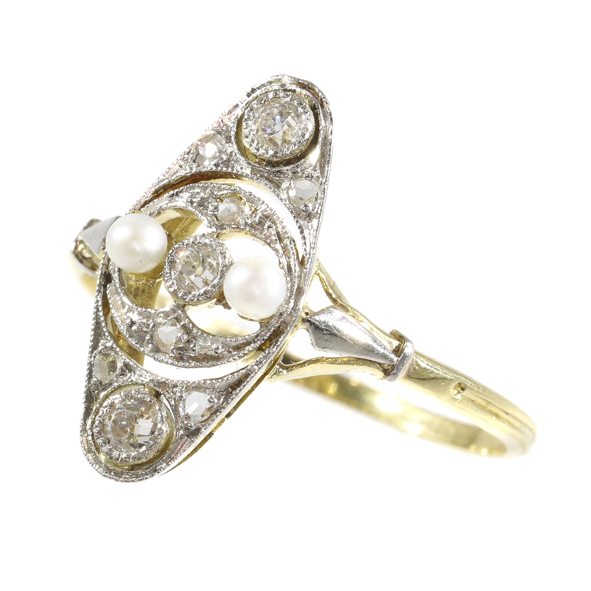 Vintage Edwardian diamond and pearl ring