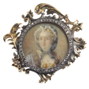 French Victorian brooch painted miniature of Madame de Pompadour in diamond mounted gold frame