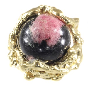 Vintage Sixties gold Art ring with interchangeable precious stones spheres