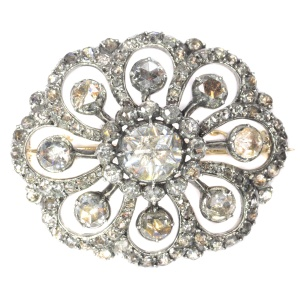 Typical Dutch antique rose cut diamond jewel brooch