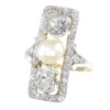 Large impressive Belle Epoque Art Deco diamond and pearl engagement ring
