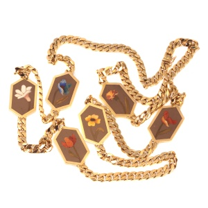 Vintage hefty 18K long gold necklace with pietra dura stones decoration