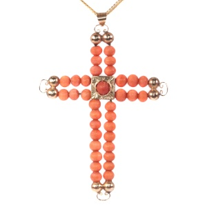 Antique Victorian 18K pink gold cross with blood coral beads