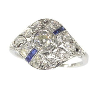 Original Vintage Art Deco ring white gold diamonds and sapphires