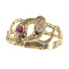 Late Victorian gold snake serpent ring set with diamonds and rubies