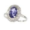 French Vintage Fifties Art Deco platinum diamond sapphire engagement ring