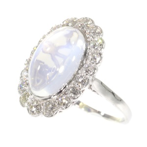 Vintage platinum diamond ring with magnificent moonstone