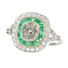 Vintage Art Deco style large diamond and emerald ring