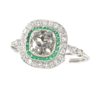 Vintage Art Deco style diamond and emerald engagement ring