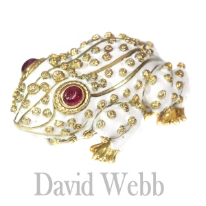 David Webb signed white frog large brooch with ruby eyes