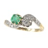 Antique Victorian style Romantic diamond and emerald toi et moi ring