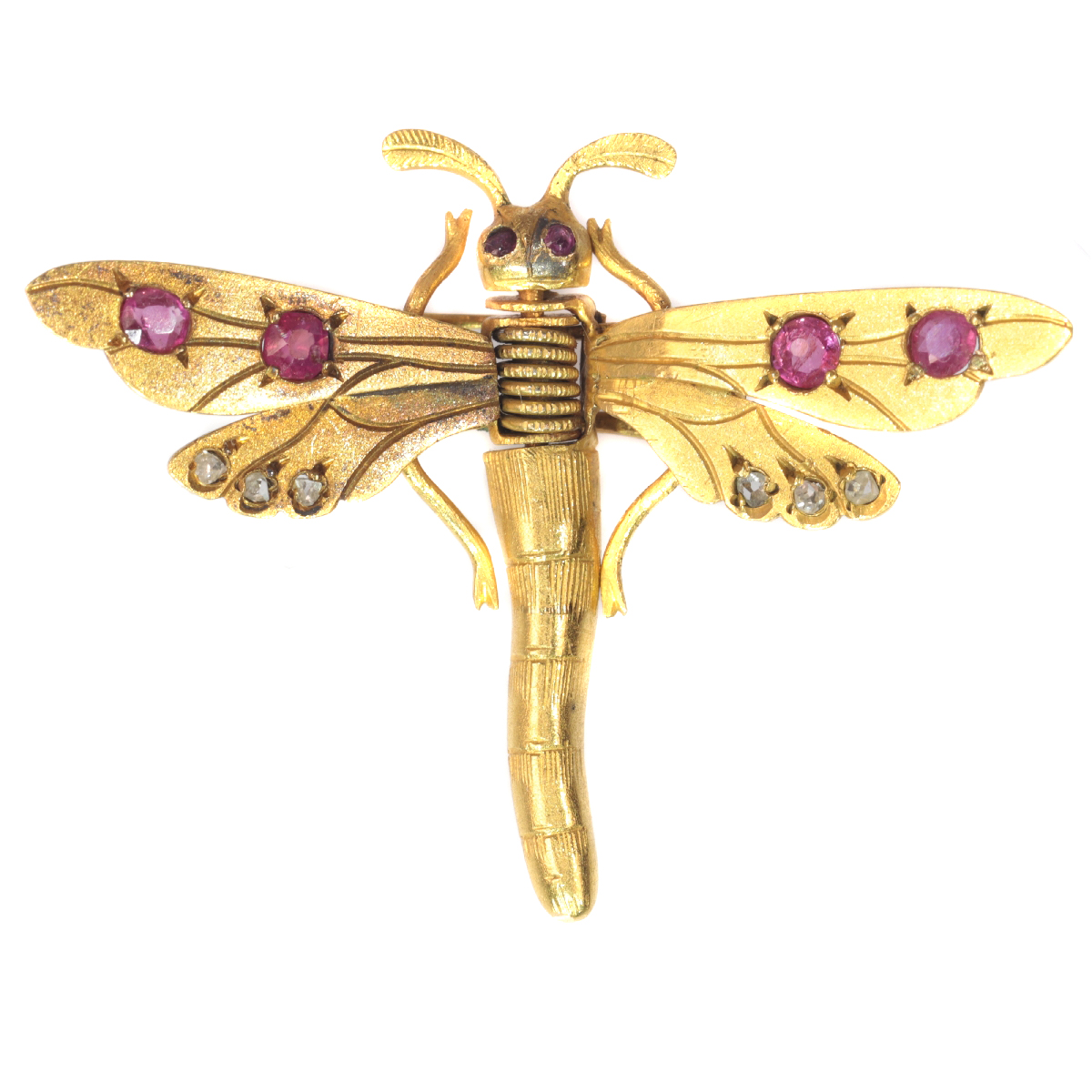 Antique Victorian hair clip brooch 18K gold dragonfly rose cut diamonds rubies