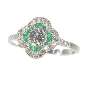 Art Deco diamond and emerald engagement ring
