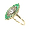 Art Deco Vintage engagement ring large marquise rose cut diamond and emeralds