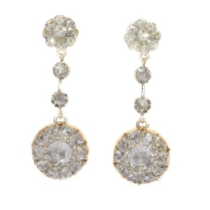 Vintage long pendant diamond earrings with 44 rose cut diamonds