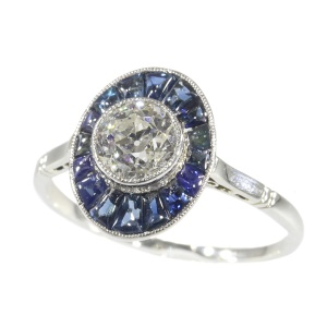 Vintage Art Deco platinum diamond sapphire engagement ring