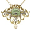 Vintage Belle Epoque brooch and pendant on chain enameled set with 109 diamonds