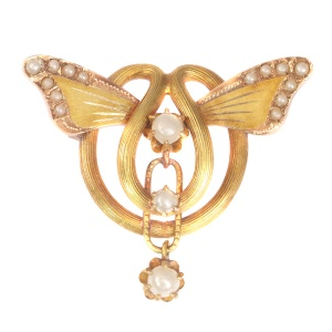 Antique gold brooch with butterfly wings set with half seed pearls