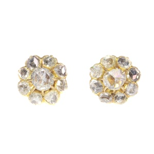Antique Victorian 18K gold earstuds with 18 rose cut diamonds