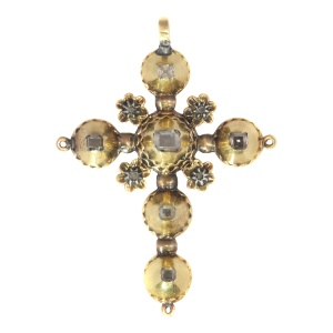 Antique Georgian gold diamond cross with old mine brilliant cut diamonds