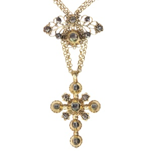 18th Century gold and diamond cross on necklace with table rose cut diamonds
