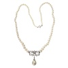 Vintage Swedish diamond and natural pearl necklace