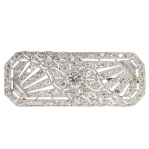 French platinum Art Deco diamond brooch